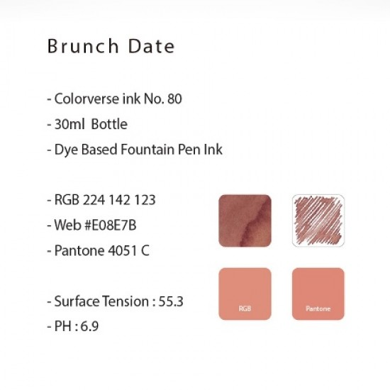Colorverse 30ml Fountain Pen Ink Bottle - Brunch Date - Pink Ink - Joy In The Ordinary Series Dye Based, Water Resistant, Non Toxic, Made In Korea