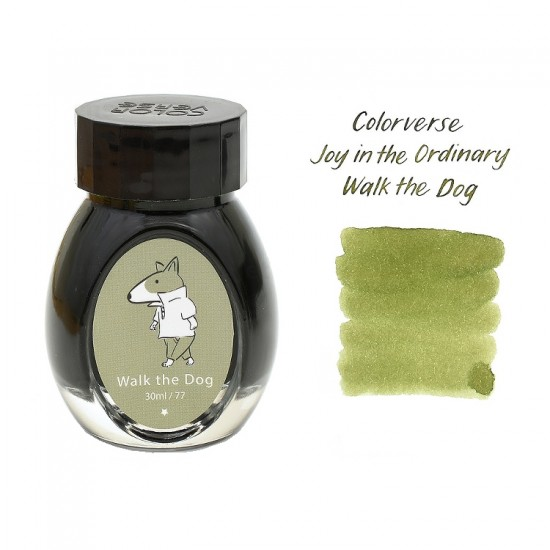 Colorverse 30ml Fountain Pen Ink Bottle - Light Green Ink - Walk The Dog - Joy In The Ordinary Series Dye Based , Water Resistant, Non Toxic, Made In Korea