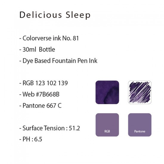 Colorverse 30ml Fountain Pen Ink Bottle - Purple Ink - Delicious Sleep - Joy In The Ordinary Series Dye Based, Water Resistant, Non Toxic, Made In Korea