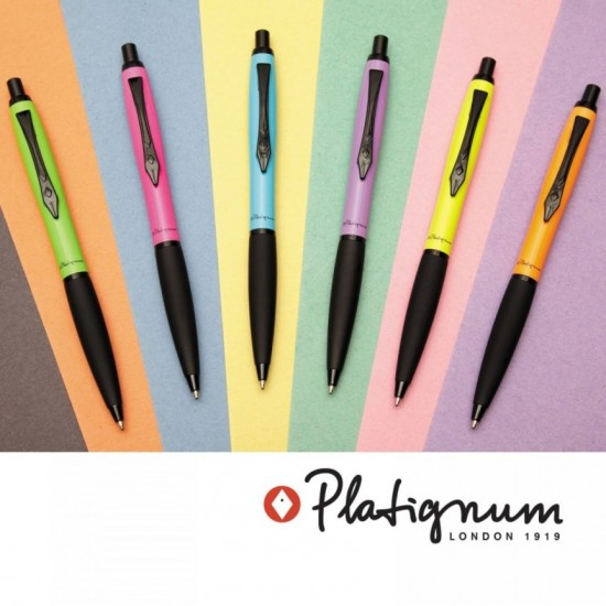 Platignum Carnaby Street Lilac Ball Point Pen, Soft-touch gripping section, Black Trims,Push-Button Mechanism.