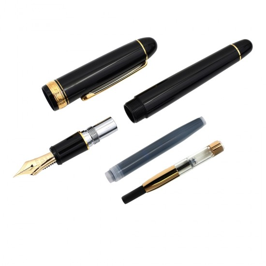 PLATINUM 3776 Century Gold Trim Fountain Ink Pen with 14k Gold Broad Nib, Black Resin Body Cartridge and Gold Plated Converter Included Slip and Seal Cap Mechanism.
