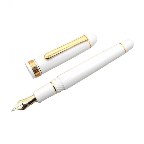 PLATINUM 3776 Century Gold Trim Fountain Ink Pen with 14k Gold Broad Nib, Chenonceau White Resin Body Cartridge and Gold Plated Converter Included Slip and Seal Cap Mechanism.