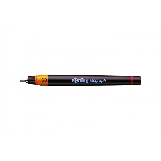 Rotring 0.2 mm Isograph Technical Drawing Ink Pen, Chrome Plated Tip, Colour Coded Barrel, Labelled ScrewOn Cap, Metal Clip