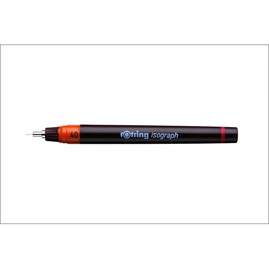 Rotring 0.4 mm Isograph Technical Drawing Ink Pen, Chrome Plated Tip, Colour Coded Barrel, Labelled ScrewOn Cap, Metal Clip