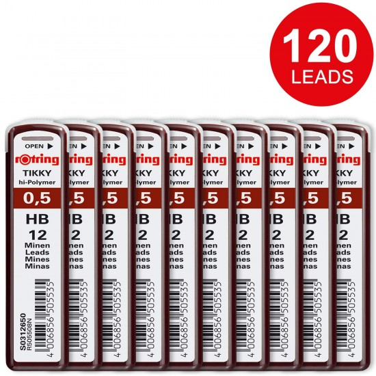 Rotring Tikky 0.5MM - HB Replacement Leads - Pack of 10