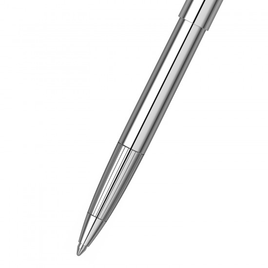 Scrikss 108 Chrome Ball Point Pen, Click Mechanism, Upper and Lower Body Chrome Plated Brass, Chiseled Grip with Linear Pattern, Stainless Steel Chrome Plated Clip, Jumbo Type Refill.