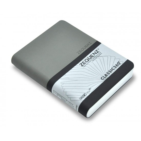 ZEQUENZ Basic Plus 360 Degree Hand Bound Grey-Black Soft Cover A6 Size Ruled - Blank,Lined - Plain Journal Notebook Diary, White Premium Paper, 400 pages