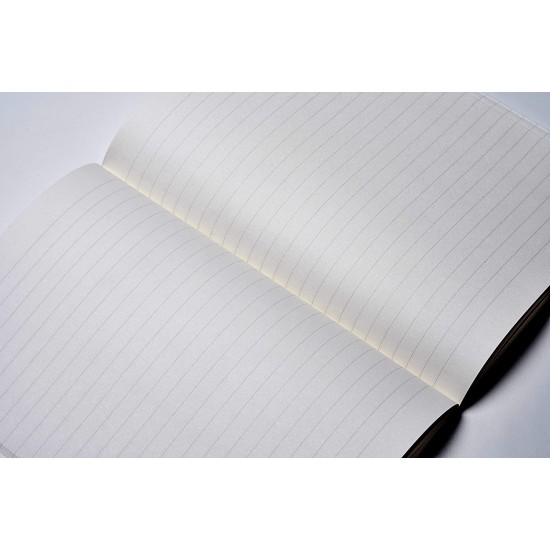 ZEQUENZ Classic 360 Degree Signature Lite Series Hand Bound Soft Cover A6 Size Ruled Journal Notebook Diary with Black Cover , White Premium Paper, 200 page