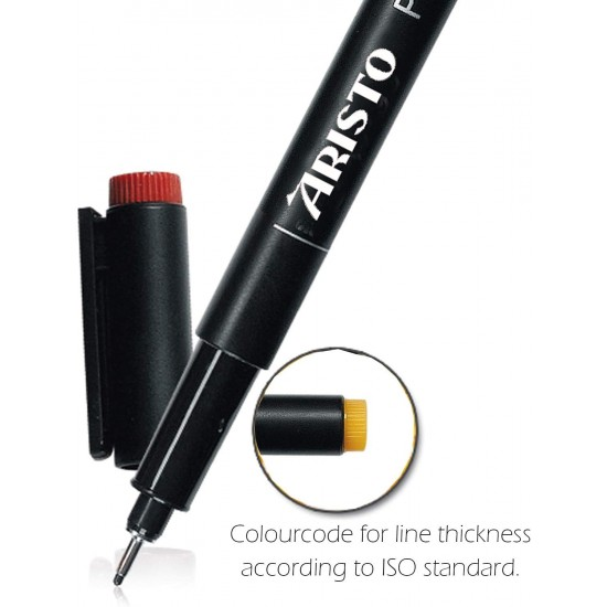Aristo 0.05mm Pigment Liner 6 Pens, Quick Drying, Light and Water Resistant Highly Pigmented Black Ink, Pen Ideal for Technical Drawing Sketching Illustrations Outlines Handwriting