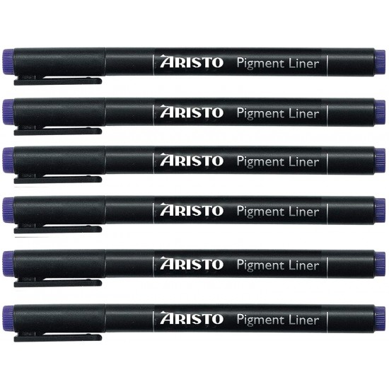 Aristo 0.1mm Pigment Liner 6 Pens, Quick Drying, Light and Water Resistant Highly Pigmented Black Ink, Pen Ideal for Technical Drawing Sketching Illustrations Outlines Handwriting