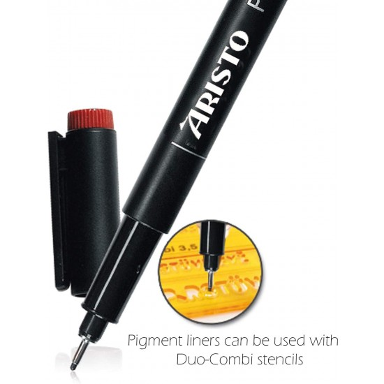 Aristo 0.2mm Pigment Liner 6 Pens, Quick Drying, Light and Water Resistant Highly Pigmented Black Ink, Pen Ideal for Technical Drawing Sketching Illustrations Outlines Handwriting