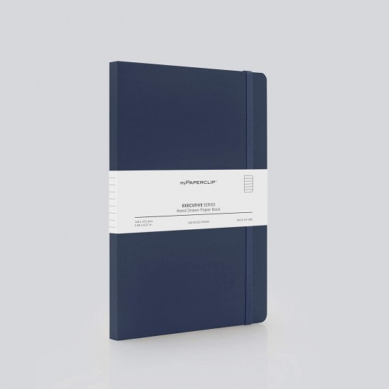 MyPaperClip Executive Series Checked Line Notebook 240 Pages 148 x 210 mm ESP240A5-C Blue