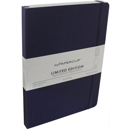 Mypaperclip Executive Series Notebook A5 (5.83 x 8.27 in.) Checks 192 Pages 148 x 210 mm LEP192A5-C Aubergine