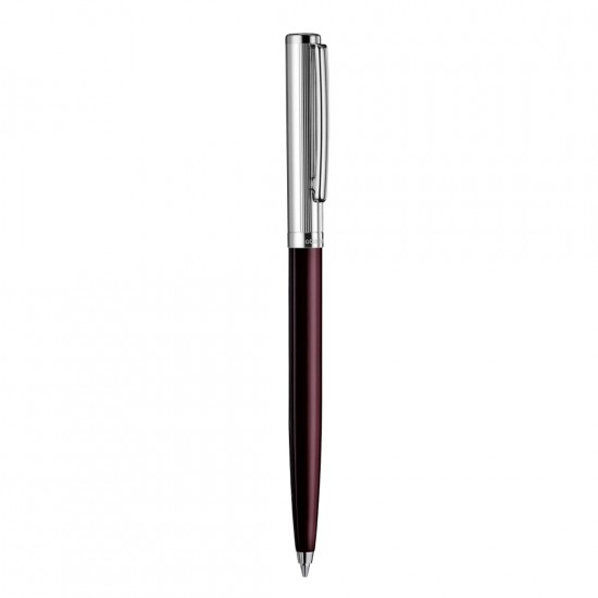 Otto Hutt Design 01 Ball Point Pen, Burgundy Barrel With Sterling Silver AG925 Pinstripe Cap - Platinum Plated Trims, Brass Body.