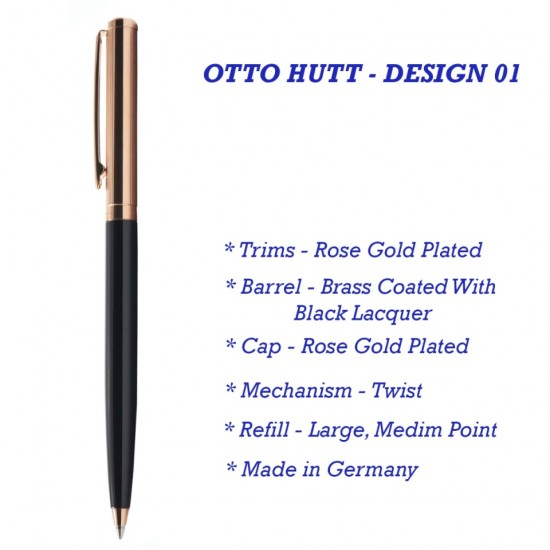 Otto Hutt Design 01 Ball Pen With Black Lacquer Barrel, Rose Gold Plated Fittings And Pinstripe Pattern Cap,Brass Body